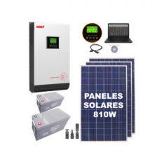 KIT SOLAR F3 3 Paneles 270W + 2 Bat. 100Ah + Inv. Offgrid MUST 3000W